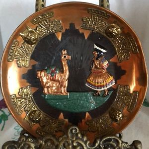Vintage stunning copper and brass Peru plate